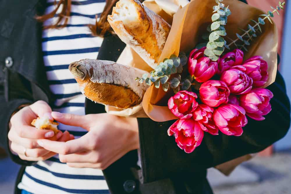 baguettes and flowers