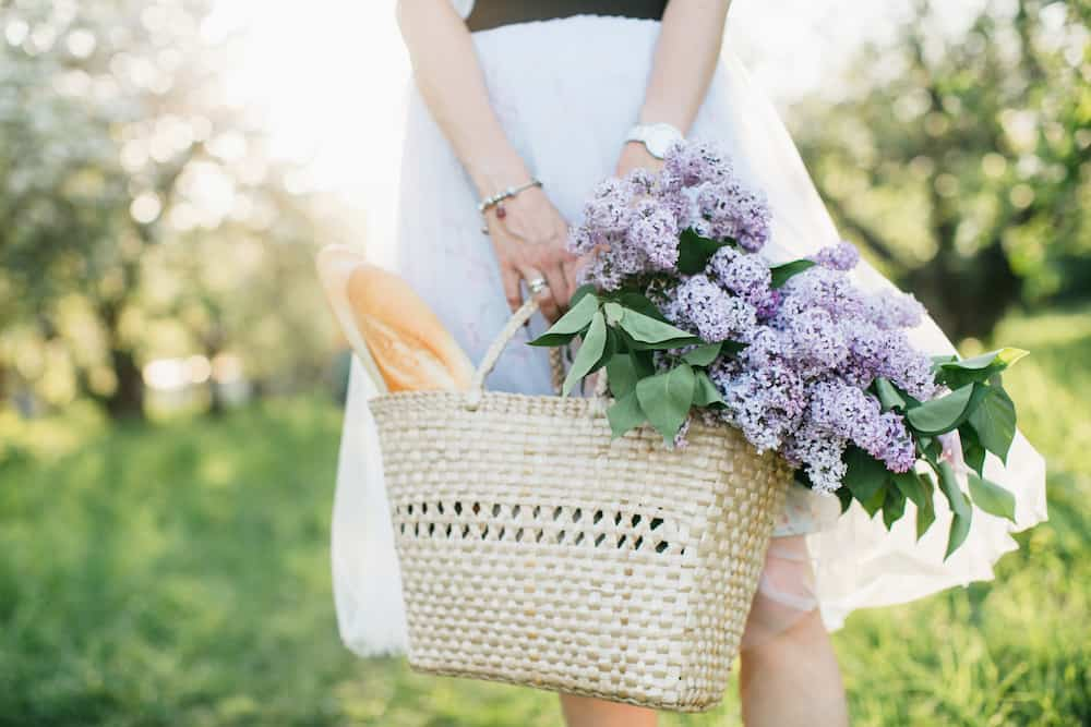french market tote with flowers and baguettes