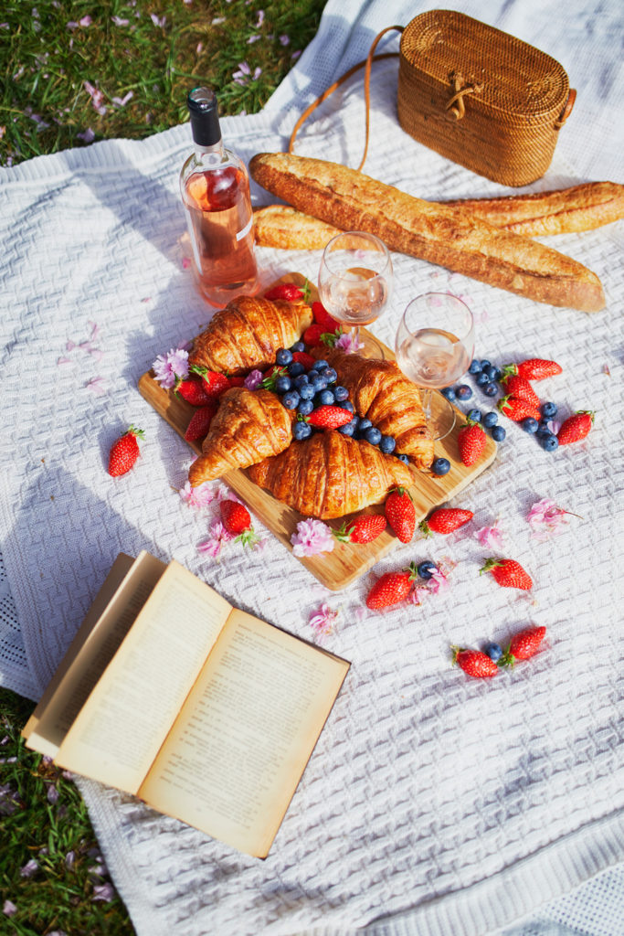 picnic of croissants and berries